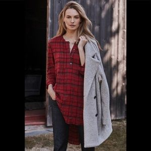 Holding horses anthro long plaid tunic popover